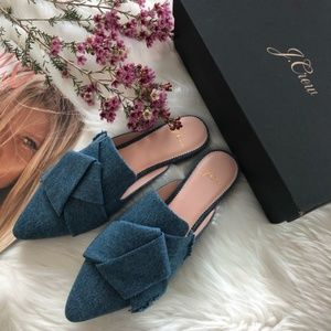 NWT JCREW Marina Pointed-toe slides in denim